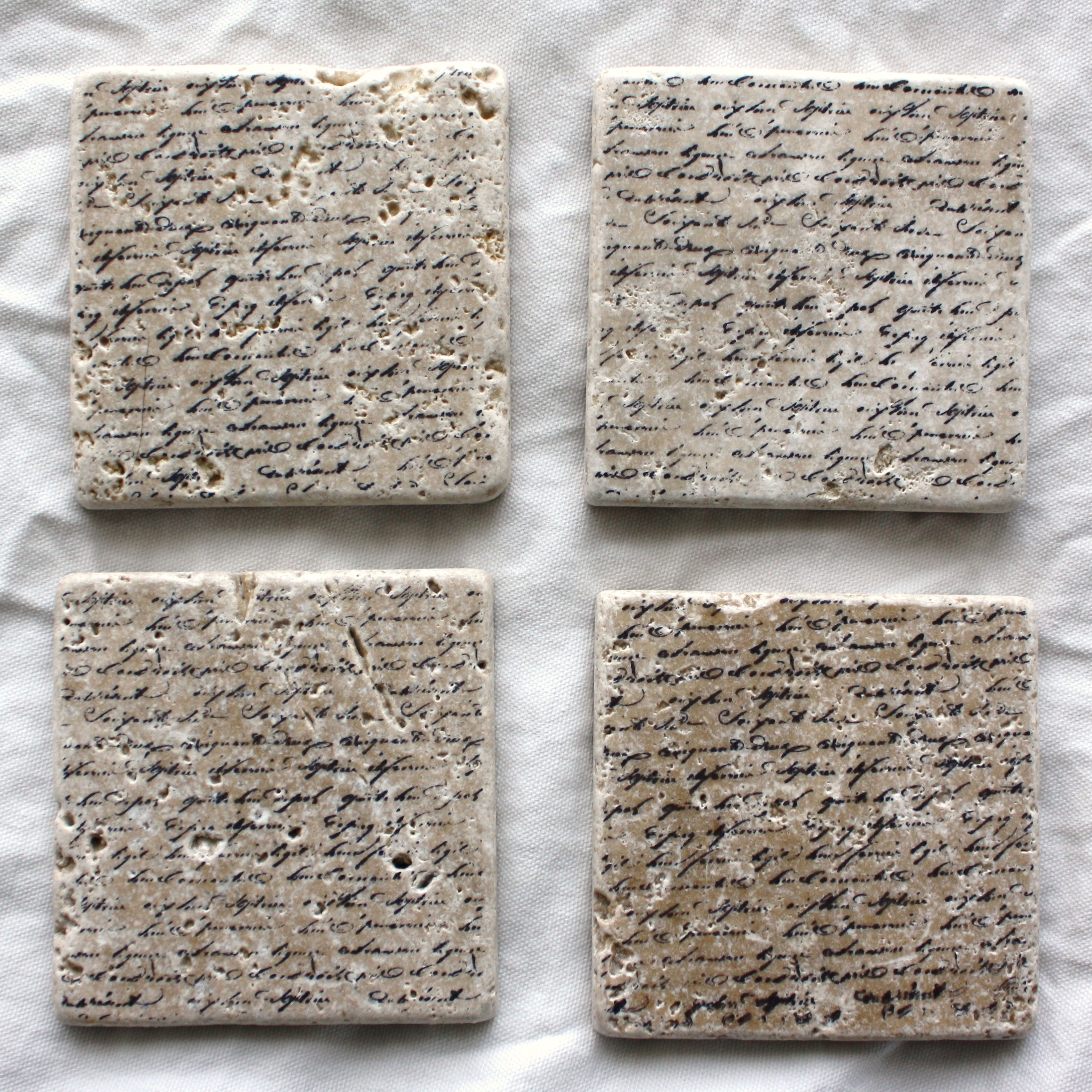 French Love Letter Tumbled Stone Coasters