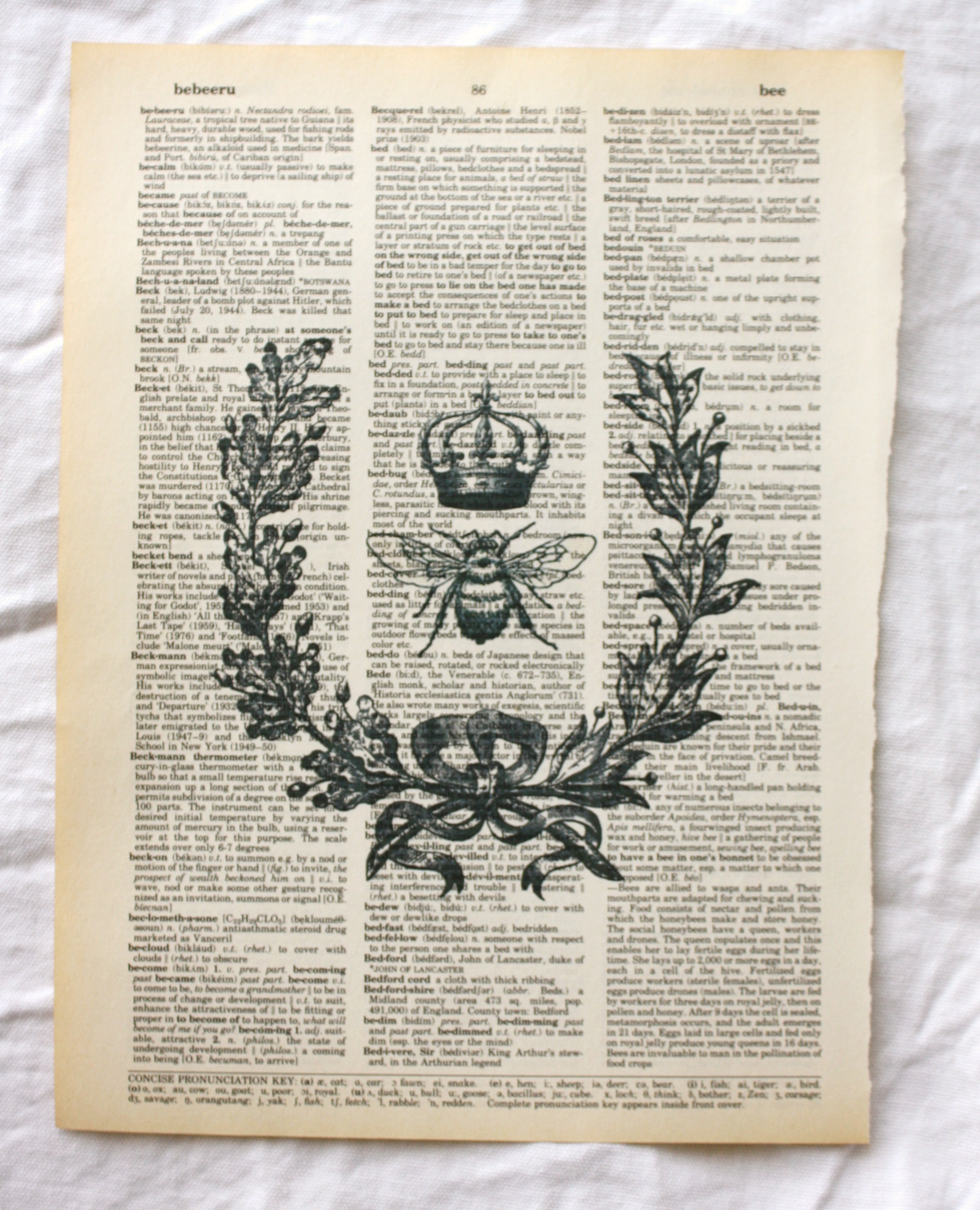 Crowned Bee Dictionary Art